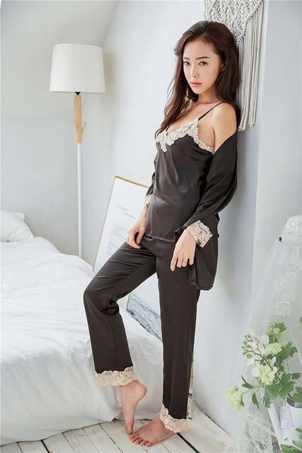 842431dfd4 Satin Pajamas for Women 2018 Fashion Lace Sleepwear Female Sexy Elegant  Women Pyjamas Silk Pajamas HIgh