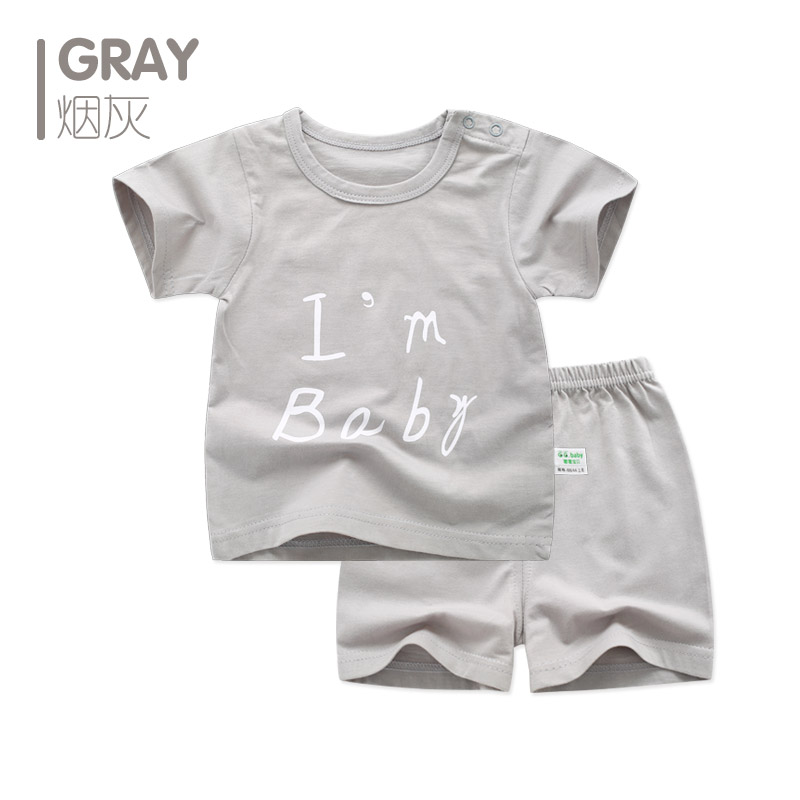 Newborn Baby Girl Boy Clothes Summer Set Letter Short Sleeve Infant Cute Clothing Sets Outfit For Baby Girls Wear Costume Cotton