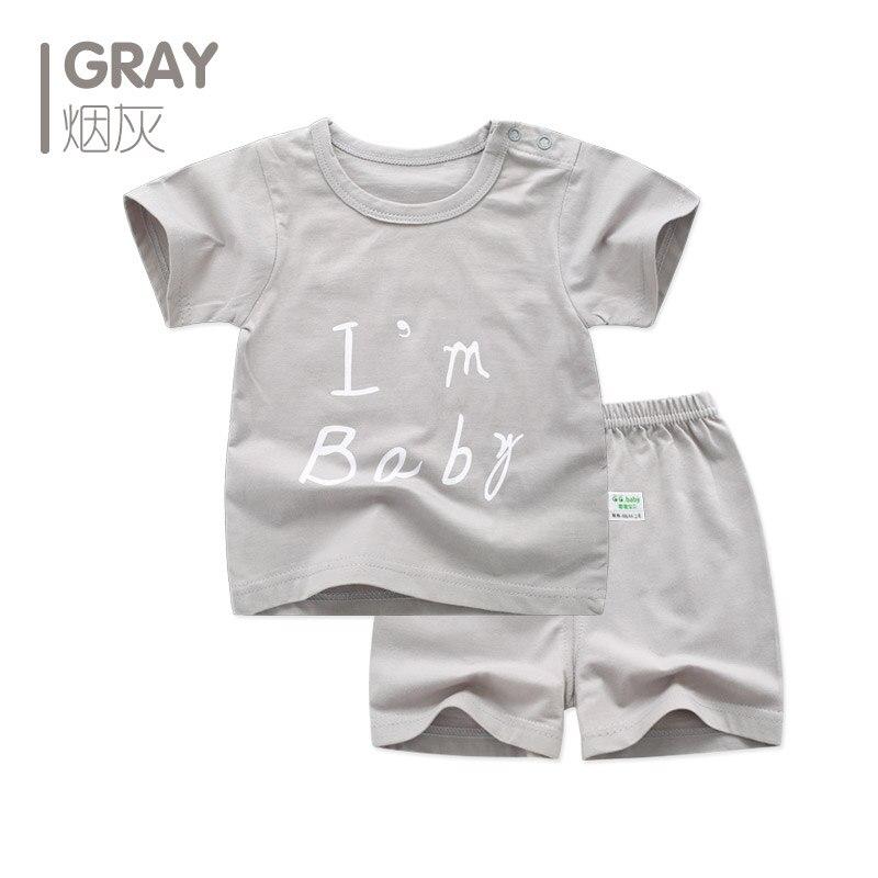 Nyfødt baby jente gutt klær sommer sett brev kortærmet spedbarn - Baby klær