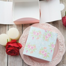 new 12*12*4.5cm 10 pcs pink flower in garden design Paper Box Cookie candy Boxes DIY gift Packaging Wedding birthday Use