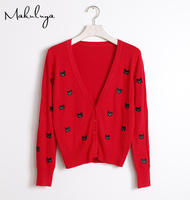 Spring All Match Female Cat Embroidery Sweater Knit Cardigan Collar Long Sleeved Shirt V Outside A