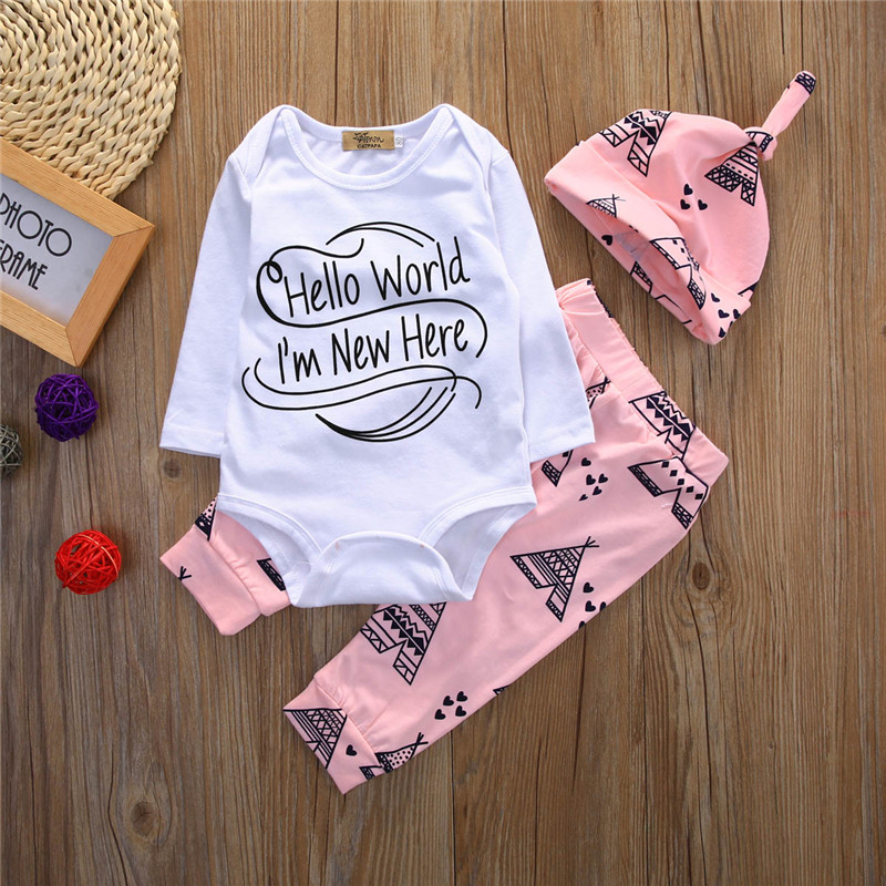 Newborn Baby 3pcs Tops Romper Clothes Sets Long Sleeve Hello World Autumn Clothes Wear 3PCS Cute Boy Girls Boutique Outfits