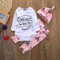 Bebé recién nacido 3 unids Tops Mameluco Arropa los Sistemas de Manga Larga Hola Mundo Otoño Ropa Desgaste 3 UNIDS Lindo Muchachas Del Muchacho Boutique Trajes
