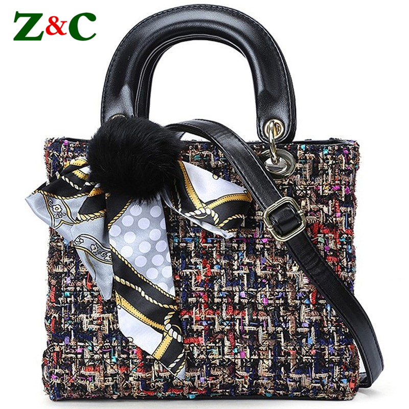 Winter Luxury Handbags Women Plaid Wool Handbag Famous Brand Design Female Tote Bag Louis Handbags with Scarves Sac A Main 2size vintage women s tote bag with strap and plaid design