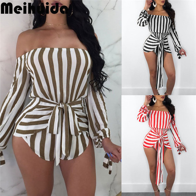 d8388a9a777 2018 Women Casual Stripe Playsuit Jumpsuit Beach Summer Holiday Shorts  Romper Mini Sundress Outfits