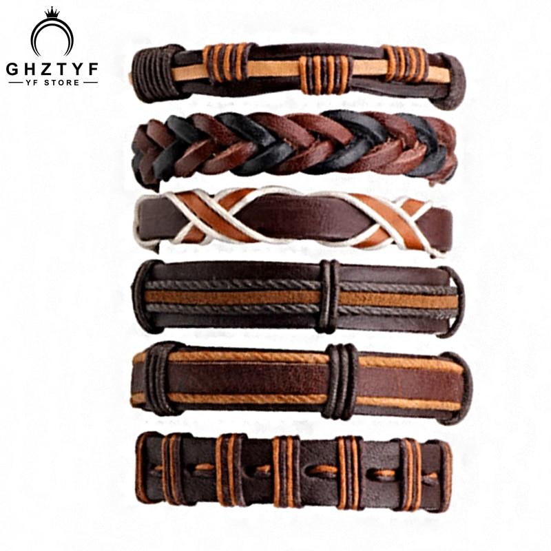 Male 6 Pcs/set Leather Bracelet Men Multilayer Punk Charm Bracelets Women 5 Piece Vintage Bangle Individuality Wristband GHZTYF