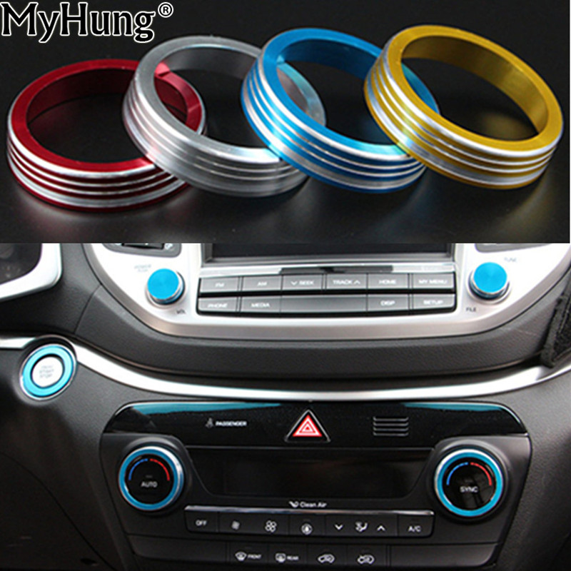 for hyundai tucson 2016 2017 car air conditioning sound knob covers aluminum alloy interior. Black Bedroom Furniture Sets. Home Design Ideas