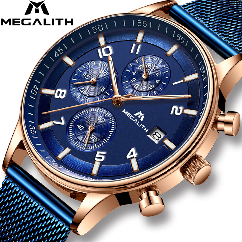 Reloje 2018 MEGALITH Men Watch Automatic Date Quartz Analog Watches
