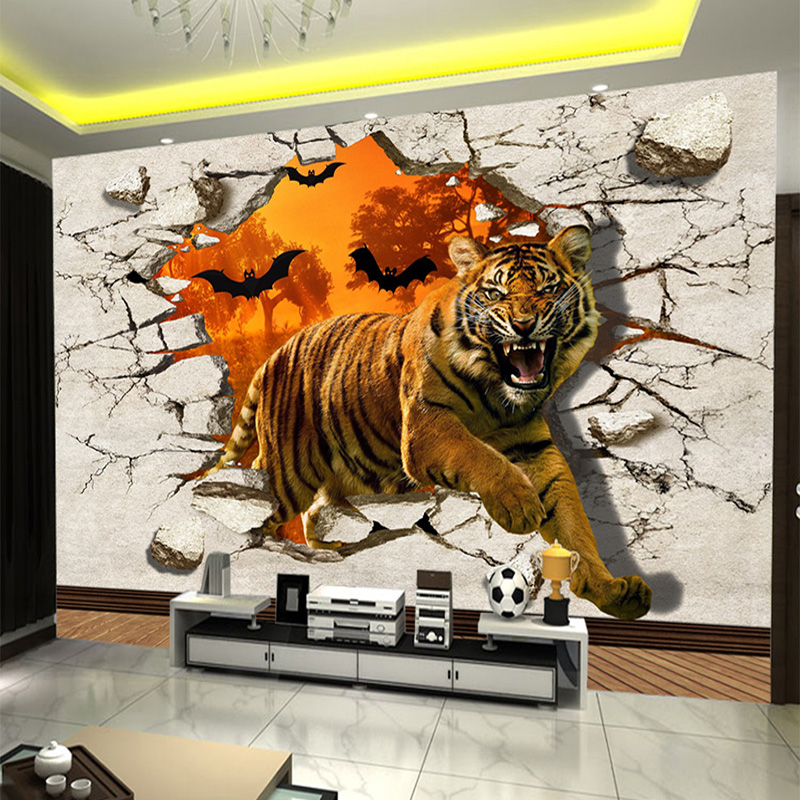 Large Custom Wall Mural Non-woven Wallpaper Wall Painting Tiger Broken Wall 3D Creative Living Room TV Backdrop Photo Wall Paper