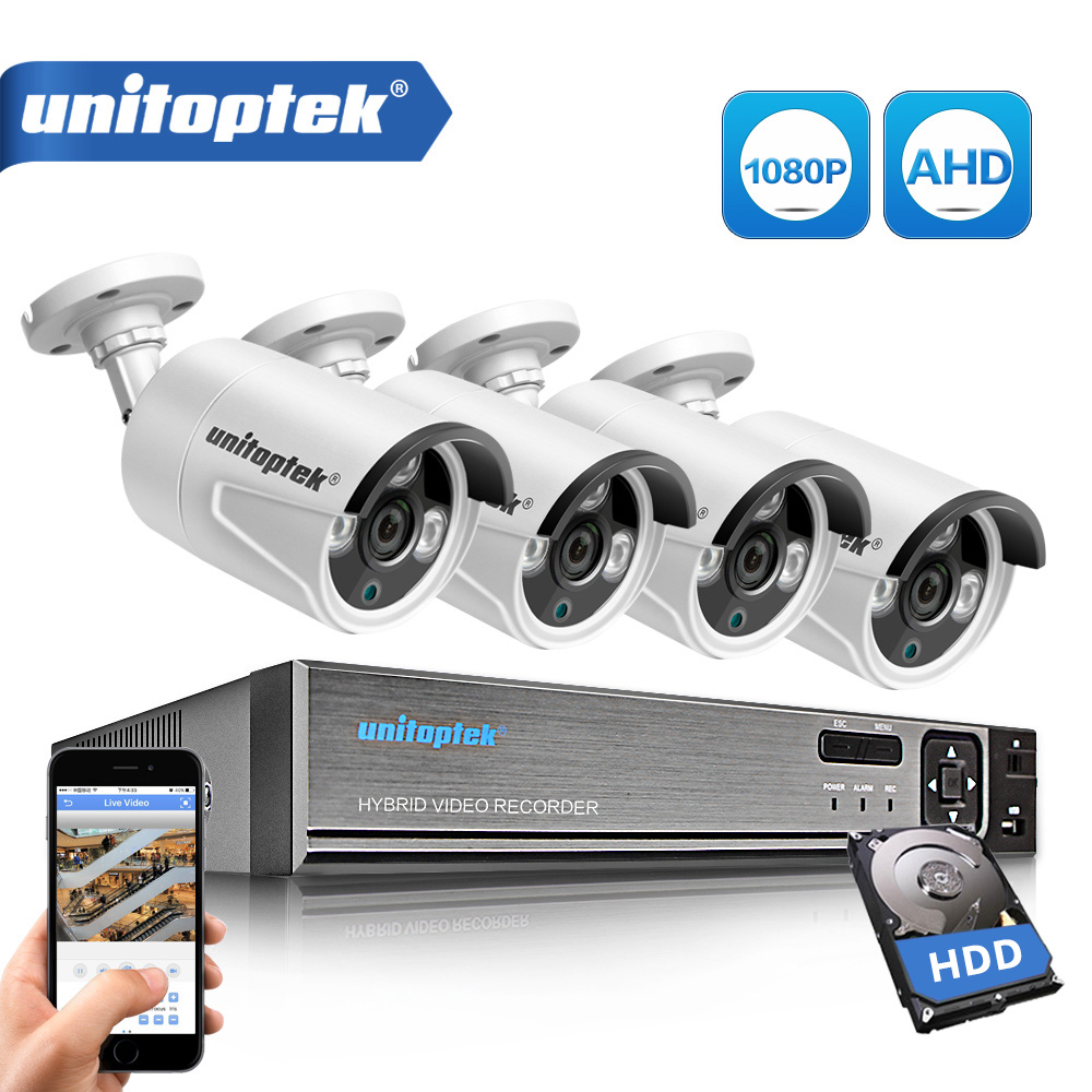 все цены на 4CH 1080P AHD DVR Video Surveillance System With 4Pcs 2000TVL 2MP AHD Cameras Outdoor Home Security CCTV Security Camera Kit