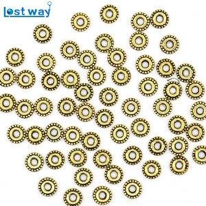 6 мм 200 шт./лот, винтажные серебряные бусины золотого цвета, узор на колесиках для изготовления браслетов, ювелирных изделий (без свинца и ник...