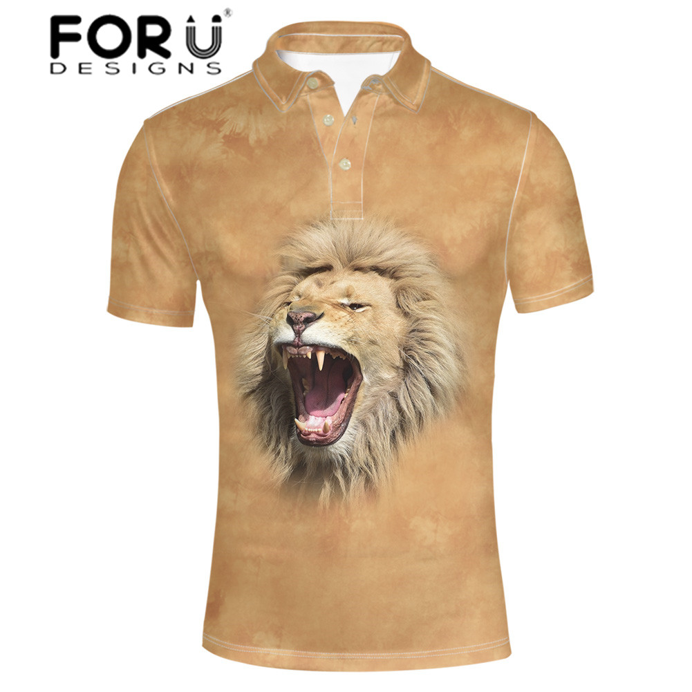 FORUDESIGNS 3D Animal Printed Shirt Men Husky Tiger Summer Tops with Button Standing Collar Shirt for Males Casual Clothing in Polo from Men 39 s Clothing