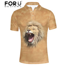 FORUDESIGNS 3D Animal Printed  Shirt Men Husky Tiger Summer Tops with Button Standing Collar for Males Casual Clothing