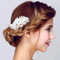 Handmade Rhinestone Bridal Hair Accessories Large Floral Wedding Bride Hair Comb Prom Festival White Beads Flower