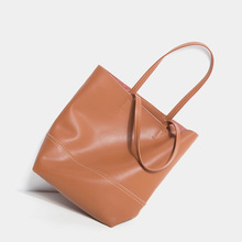 Real Leather Handbags Women Pure color Big Tote genuine Shoulder Bag womens luxury handbag brand