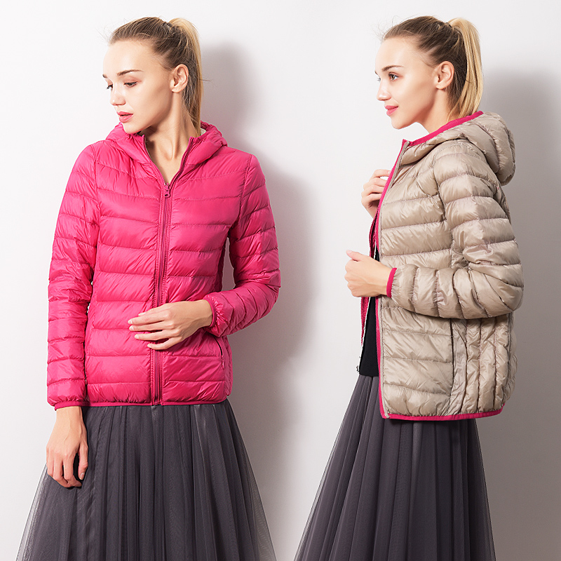 New Autumn Winter Double-Sided Wearing   Down     Coats   Women Slim Ultra-Light Duck   Down   Jackets Hoode Windproof Outwears Female Mw503