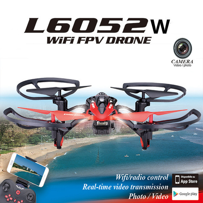 L6052W wifi fpv rc drone with HD Camera 2.4G 4CH 6 Axis Gyro RC Quadcopter with led light Realtime Drone Remote Control Toy gift new arrival syma x8hg wifi fpv 3d rolling dron rc 2 4g remote control 6 axis rc drone hd camera rc quadcopter with led light