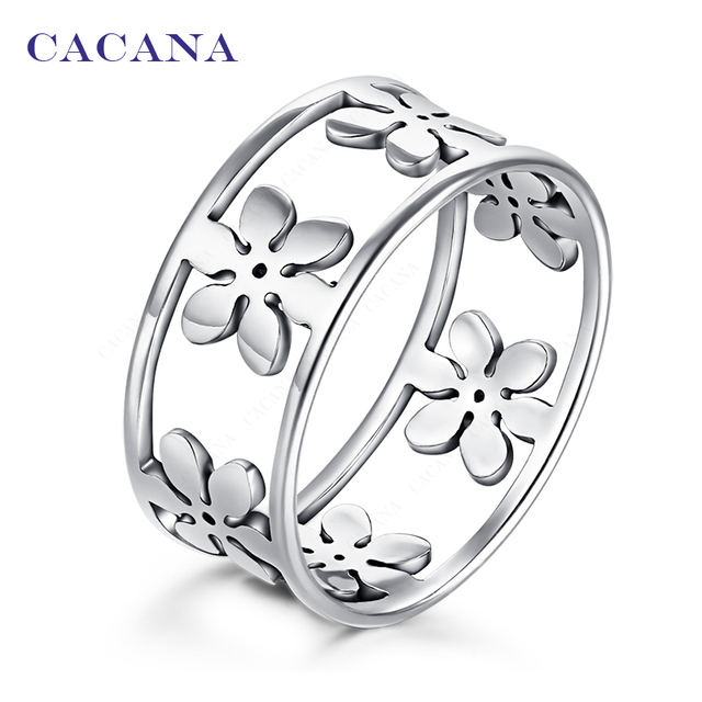 CACANA Titanium Stainless Steel Rings For Women Five Petals Fashion Jewelry Whol