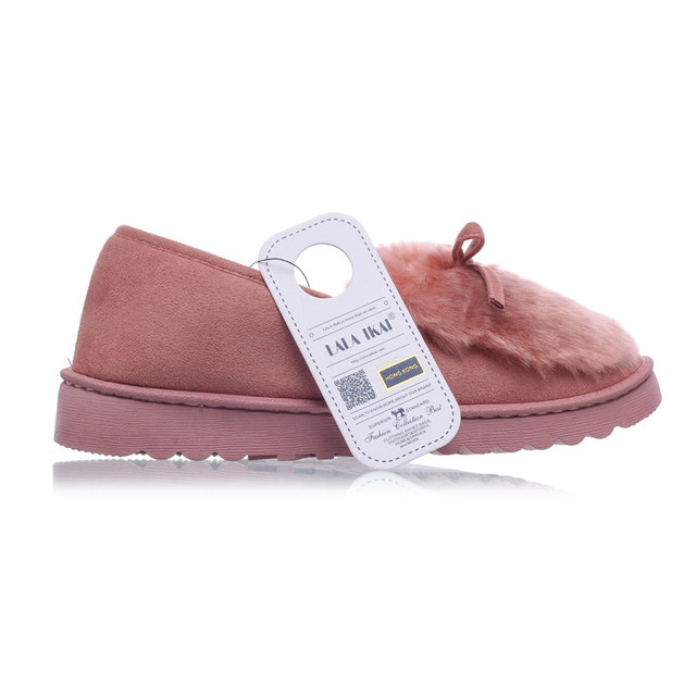 LALA IKAI Women Fur Flats 2016 Slip on Bowtie Cotton Winter Shoes Woman Winter Fur Slippers Women Loafers Moccasins XWA0428-4