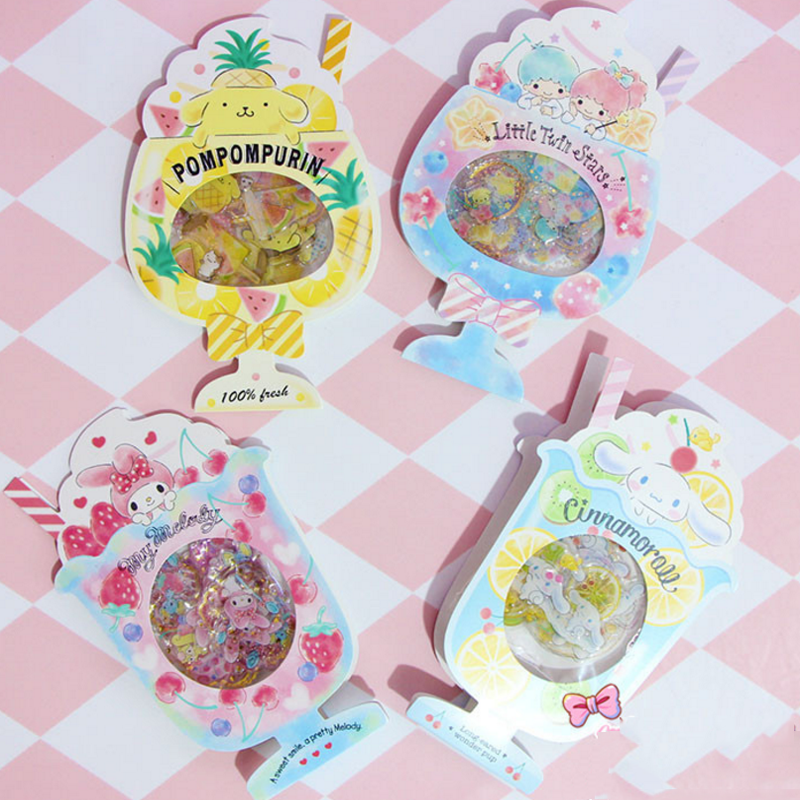 1pack New cute My Melody Gemini Cinnamoroll Pudding Dogs Sticker Pack Summer fruit juice Cartoon Stickers toys Gifts