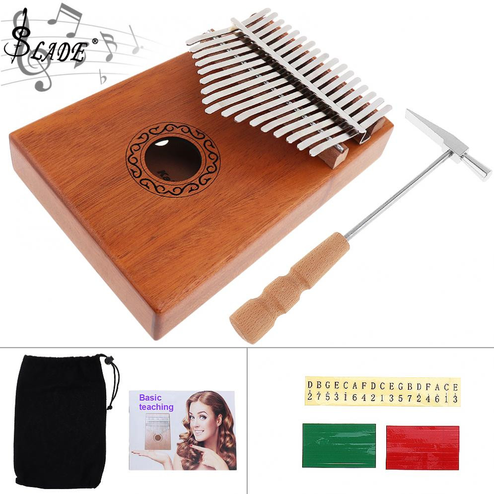 SLADE 17 Key Kalimba Single Board Mahogany Thumb Piano Mbira Mini Keyboard Instrument with Complete Accessories