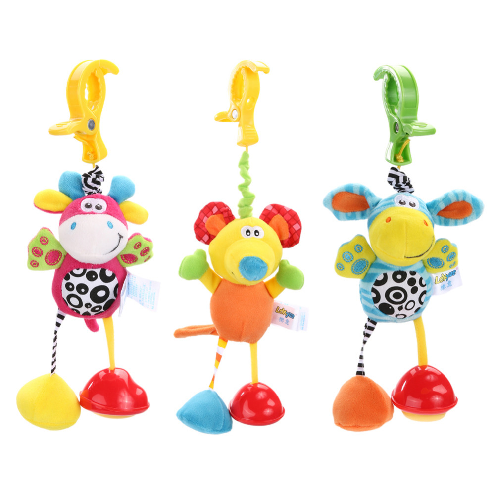 Baby Rattles Bell Toys Mobile Soft Cartoon Plush Animal Clip Rattles Crib Bed Stroller Hanging Dolls Toys for Newborn Baby baby musical crib mobile bed bell baby hanging rattles rotating bracket projecting toys for 0 12 months newborn kids gift