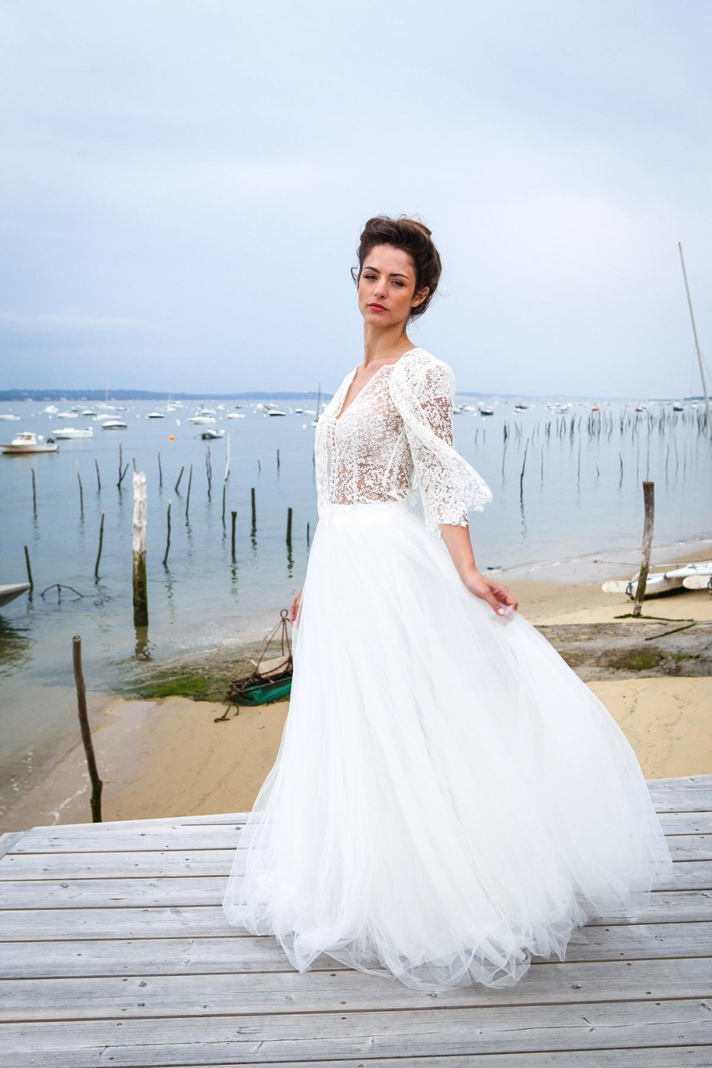 2017 New Designer Long A line Three Pieces Sexy Lace Top Tulle Skirt Boho  Wedding Dresses Illusion Bridal Gown Informal-in Wedding Dresses from  Weddings ... 1d0fa41c3cb9