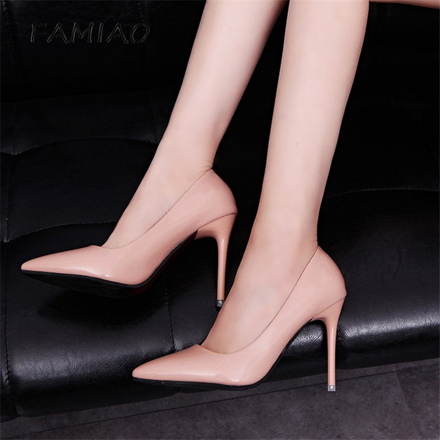 High Heels Shoes Pumps 10.5cm Black Stilettos Heels Sexy Pointed Toe White Pumps Nude Heels for Women Shoes Ladies 1
