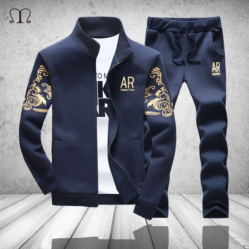 Casual Men Tracksuit Fitness Men Zipper Jacket Pant Set Mandarin Collar 2 Pieces Autumn Sporting Letter Print Track Suit Male