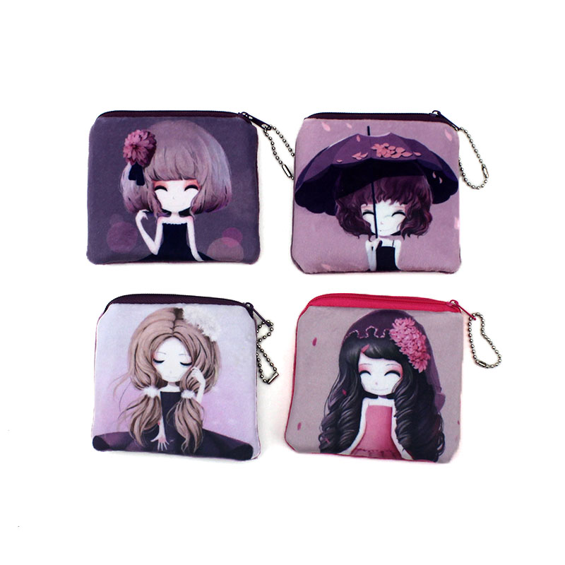 Fashion Square Cartoon Colorful Girl Zipper Coin Bags Women Mini Storage Pouch Children Cute Wallet Kids Coin Purses Card Holder waterproof cartoon cute thermal lunch bags wome lnsulated cooler carry storage picnic bag pouch for student kids