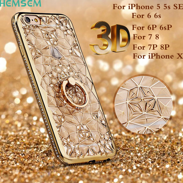 the latest af771 4c345 US $6.22 11% OFF|for iPhoneX Luxury 3D Crystal Flower 24K Gold Plating  Shockproof Transparent Cover Case for Apple iPhone 5 5s SE 6 6S 7 8 Plus  X-in ...