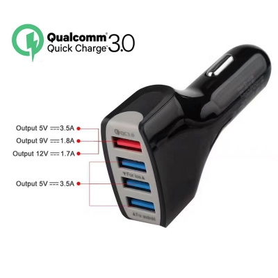 Car Charger 12V USB Quick Charge 3 0 4 Ports Adaptive Fast Charger For Mobile Phone For iphone Xiaomi Huawei Mirco USB Charger in Car Chargers from Cellphones Telecommunications