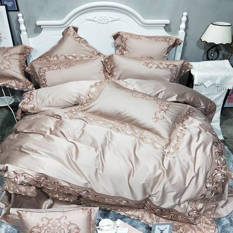 Golden color Luxury Bedding Set Queen King size 100S Egypian cotton Embroidery bed set Bedlinen sheet Duvet cover set Pillowcase