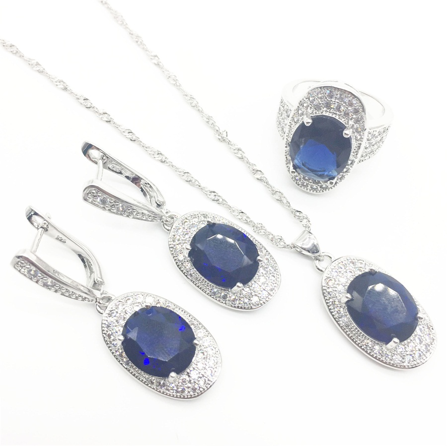 Mystic Montana Blue Cubic Zirconia White Cz 925 Sterling Silver Jewelry Sets For Women Party Necklace/earrings/pendant/ring