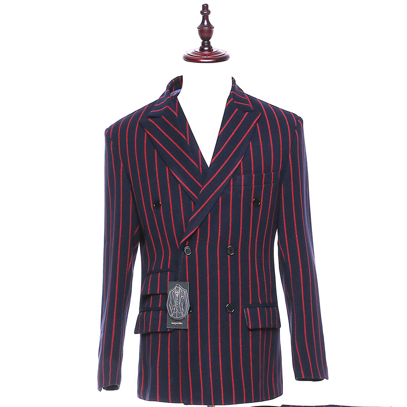 Men Suit Jacket Red and Black Stripes Double Breasted Blazers Male Slim Fit Casual Men's Wedding Tuxedo Coat Traje Hombre CUSTOM
