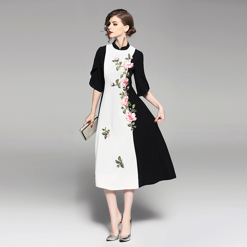 2018 New Elegant Embroidery Patchwork Women Dress High Quality European Half Sleeve Hit Color Mid-Calf Length Slim Dress