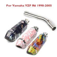 R6 Motorcycle Exhaust Escape System Muffler Tip Connect Link Tube Pipe Exhaust System Whole Set Pipe for Yamaha YZF R6 1998-2005 connect case system