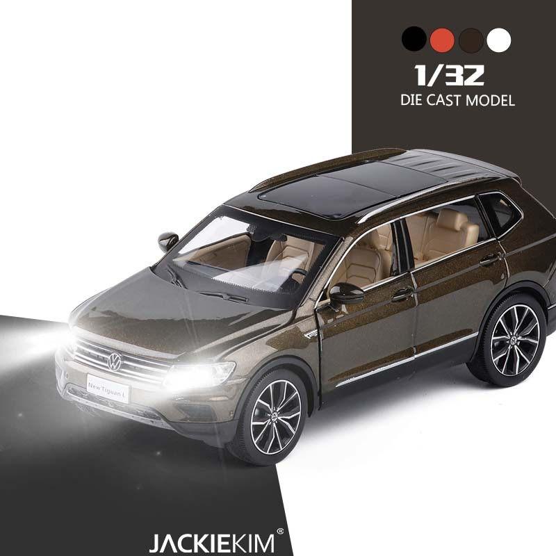1:32 alloy pull back car toys high imitation Tiguan L car model open door music flash toy vehicles kids toys free Shipping(China)
