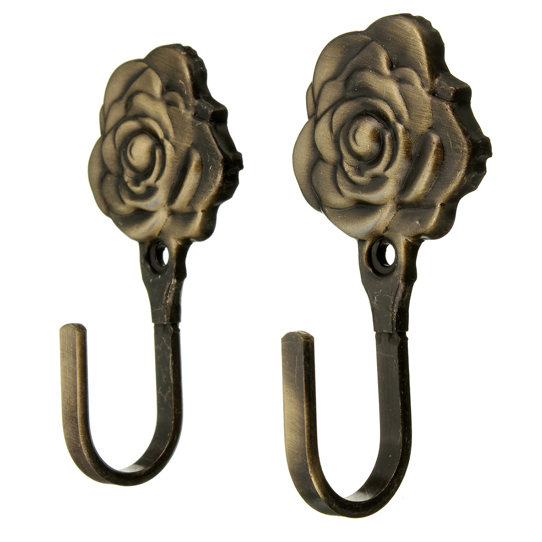 Hot Sale 2Pcs Metal Rose Flower Curtain Tie Back Tieback Holders Wall Hooks Decor