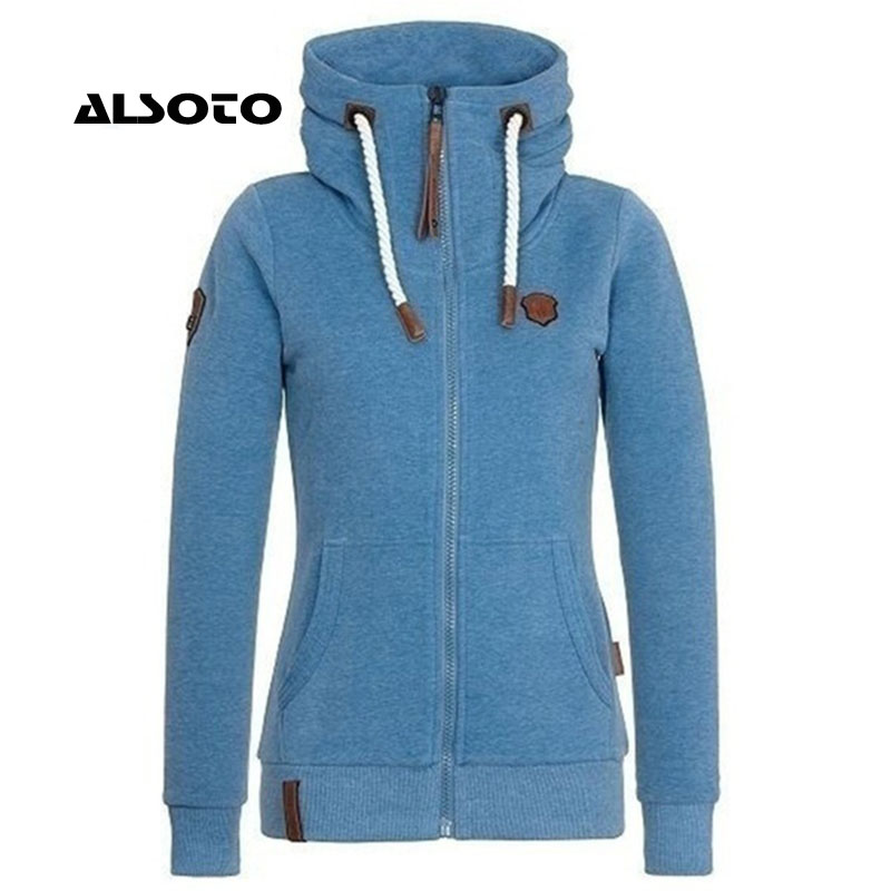 ALSOTO Women Hoodies Autumn Winter Hooded Sweatshirts High Collar Hooded Coat Jackets Plus Cashmere Hoodies Plus Size S-5XL