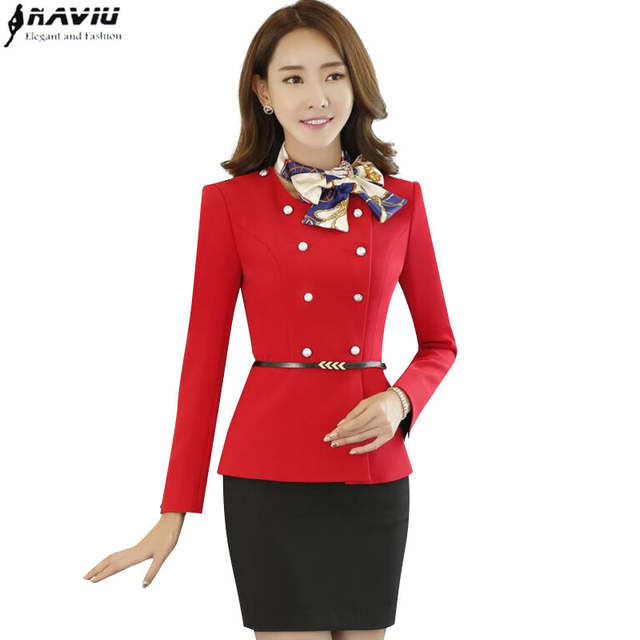 12237d6d589d placeholder Elegant Bow Scarf women skirt suits OL formal Double Breasted  long-sleeve blazer with skirt