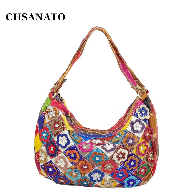 CHSANATO Drop Shipping Classic Real 100% Genuine Leather Bags Women Hobo Patchwork Flower Colorful Handbags Ladies Tote Bag CHSANATO Drop Shipping Classic Real 100% Genuine Leather Bags Women Hobo Patchwork Flower Colorful Handbags Ladies Tote Bag