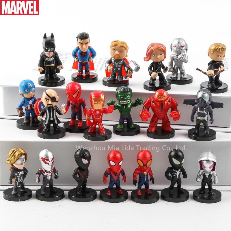 Hasbro Marvel 8&12pcs Raytheon Spider-Man Iron Man DC Justice League Batman Superman Q Edition Decoration Hand Collection