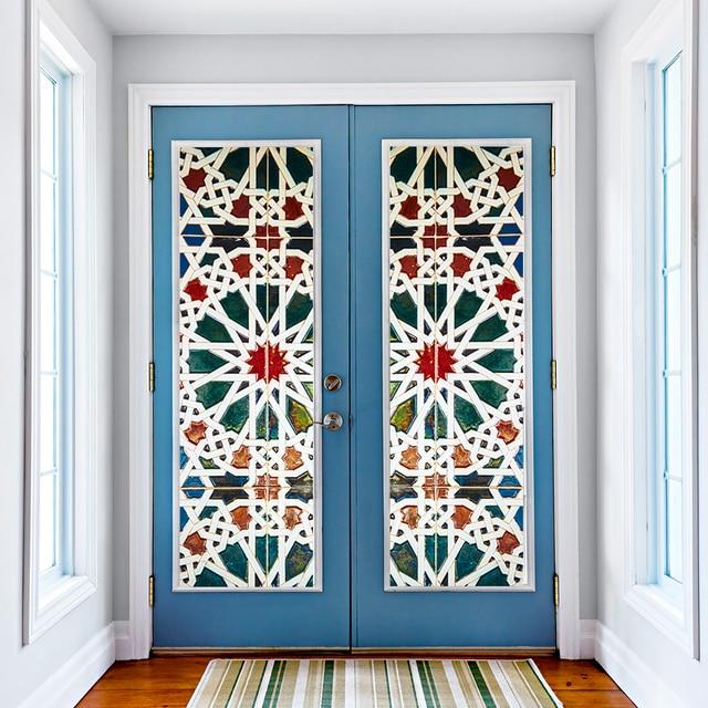 Kaleidoscope Color Vinyl Glass Door Wall Sticker 3D Door Window Mural Home Bathroom Kitchen