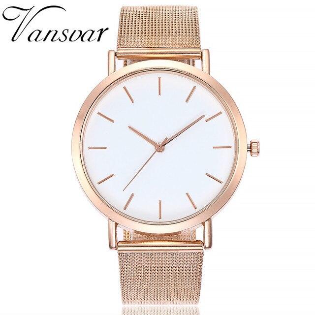 Vansvar oro plata malla Acero inoxidable relojes mujeres marca superior lujo  reloj Casual señoras reloj de 0257b56b0a49