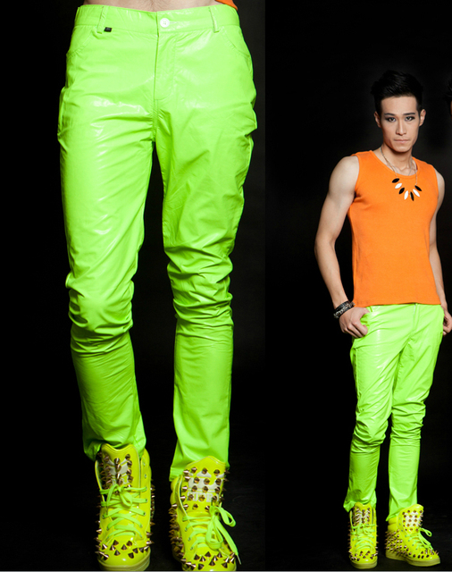 5d98ad9f087 27-44 ! Fashion men s brand stage singer clothing candy neon Fluorescent  green casual pants costumes costume plus size trousers