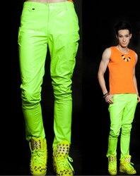 27-44! Uomini di Modo di Marca Della Fase Cantante Abbigliamento Caramella Al Neon Fluorescente Verde Casual Pantaloni Costumi Costume Più I Pantaloni di Formato