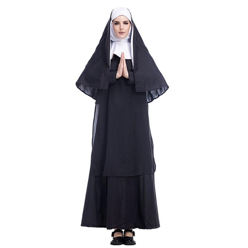 2018 Virgin Nuns Halloween Costumes For Women Maxi Long Black Nuns Cosplay Dress Religion Ghost Uniform Fancy Dress