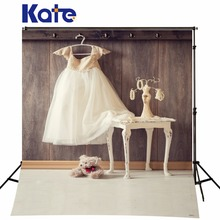 Kate Gray Photo Backdrops Photo Shoot Photography Backgrounds Dark Wood-Paneled Walls White Children Veil White Floor For Studio