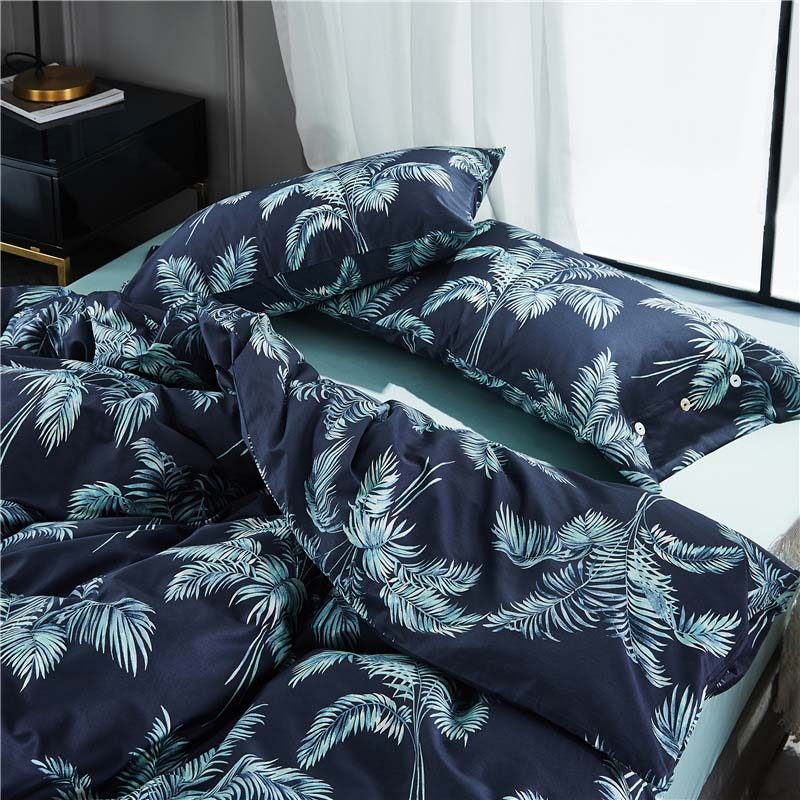 Acheter Tropical style feuille arbres marine bleu d'eau bleu top rank 4 pcs vacances villa housse de couette drap ensemble de literie Reine roi/B7014 de Ensembles de literie fiable fournisseurs